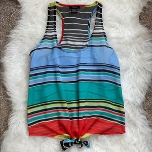 Timing Striped Tie-front Racerback Tank Top- S
